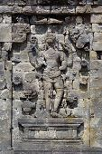 picture of arjuna  - Arfuna on the wall of temple in Plateau Dieng Java - JPG