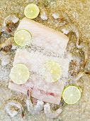 picture of mahi  - Vertical photo of fresh raw white fish shrimp lime slices and crushed ice on top with natural stone underneath as background - JPG