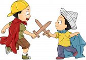 stock photo of playmate  - Illustration of Little Boys Playing Knight having a Swordsfight using Wooden Swords - JPG