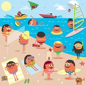 pic of hang-gliding  - Cartoon illustration of busy beach - JPG