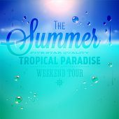 Summer holidays typography background with sun, sea and sky. Sun shine, beach and water drops. Vecto
