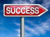 success red road sign arrow with text successful life and business succeed in task exam test or exam