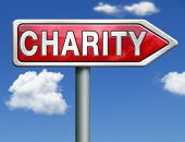 image of word charity  - charity raise money to help donate gifts fund raising give a generous donation or help with the fundraise red road sign arrow with text and word concept - JPG