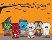 Cute halloween card - Witch, Devil, Monster, Mummy, Dracula and Ghost