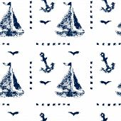 Grunge boat and anshor navy blue on white seamless pattern, vector