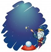 Illustration of a wizard holding a magic wand and a book in front of the crystal ball on a white bac