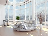 A 3d rendering of modern bedroom with floor to ceiling windows and cityscape view