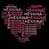 Messina word cloud in pink letters against black background