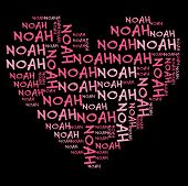 Noah word cloud in pink letters against black background