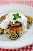 picture of veggie burger  - Delicious veggie burger patty with chard and a sour cream dip