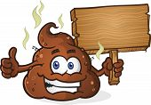 picture of smelly  - A smelly pile of cartoon poop holding a wooden sign and giving the thumbs up gesture - JPG