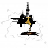image of derrick  - Oil derrick crane from which the drip drop of oil on a background of abstract oil slick - JPG