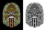 foto of evil queen  - fully editable vector illustration of balinese demon mask called rangda is the queen of the leak in the mythology of bali - JPG