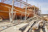 picture of shipbuilding  - Image of traditional handiwork shipbuilding Sur Oman - JPG