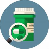pic of lobbyist  - Vector medical pills bottle under the magnifying glass  - JPG