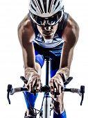 picture of triathlon  - man triathlon iron man athlete biker cyclist bicycling biking in silhouette on white background - JPG