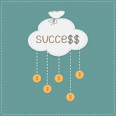 picture of prosperity sign  - Bag in shape of cloud and hanging coins with dollar sign - JPG
