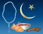 picture of samosa  - an illustration of iftar food including samosas and dates prepared for ramadan festival with blue prayer beads and an islamic crescent moon and star on a starry night background - JPG