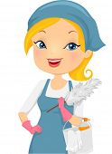 pic of housekeeper  - Illustration of a Girl Providing Housecleaning Service - JPG