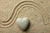 stock photo of pumice-stone  - Grey zen stone in shape of heart - JPG
