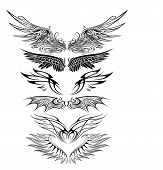 foto of eagle  - illustration of great Ornaments Eagle Wing Silhouette with white background - JPG