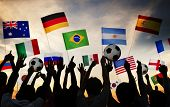 image of gathering  - Silhouettes of People Gathered for 2014 FIFA World Cup - JPG