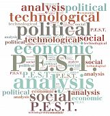 stock photo of swot analysis  - Word cloud illustration related to strategic marketing management PEST analysis - JPG