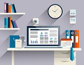 pic of workstation  - Office workstation with notebook web camera and stationery flat vector illustration - JPG