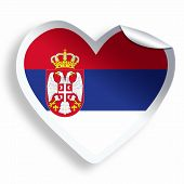 picture of serbia  - Heart sticker with flag of Serbia isolated on white - JPG