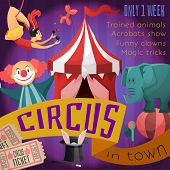 picture of circus clown  - Circus retro poster with trained animals acrobats show funny clowns magic tricks vector illustration - JPG