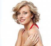 image of studio shots  - closeup portrait of attractive  caucasian smiling woman blond isolated on white studio shot lips toothy smile face hair head and shoulders looking at camera blue eyes tooth - JPG