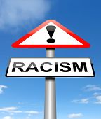 image of racial discrimination  - Illustration depicting a sign with a racism concept - JPG