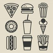 foto of meat icon  - Fast food icons set  - JPG