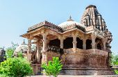 picture of hindu-god  - Ancient rock curved temples of Hindu Gods and godess at Mandor garden Jodhpur Rajasthan India - JPG