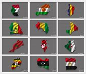 foto of north sudan  - Flags in the form of states with shadows - JPG