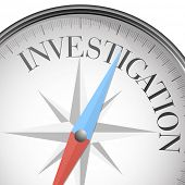 pic of private investigator  - detailed illustration of a compass with investigation text - JPG
