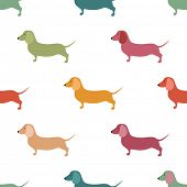picture of hound dog  - Seamless pattern with cute dachshound dogs - JPG