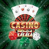 image of poker machine  - vector gambling casino elements on green star - JPG