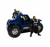 pic of armored car  - Isolated military car standing with armed toy cop soldiers - JPG