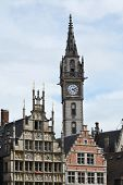 picture of old post office  - Historic buildings with the Old Post office tower in Ghent Belgium - JPG
