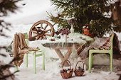 pic of wedding table decor  - green and brown winter wedding decor details - JPG