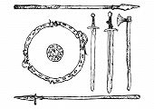 stock photo of decomposition  - Black and white decomposition of medieval weapons Viking Age - JPG