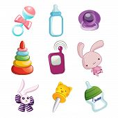 stock photo of baby doll  - Colorful baby toys for using like doll and milk bottle - JPG
