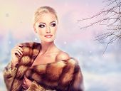 pic of mink  - Winter Woman in Luxury Fur Coat - JPG