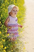 image of rap-girl  - baby girl with flower in the raps - JPG