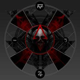 picture of skull cross bones  - Abstract alchemy bloody pentacle sign with skull - JPG
