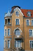 picture of art nouveau  - Turret and facade Art Nouveau building in Poznan - JPG