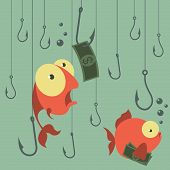 Постер, плакат: Cartoon vector concept Fishing Finances Business risks Banks Credits and deposits
