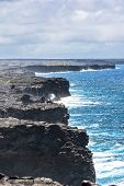 picture of magma  - A view of the  lava cliff in the Volcanoes National Park in Big Island - JPG