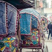 picture of rickshaw  - colorful nepalese rickshaw in the streets of kathmandu